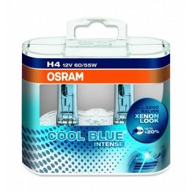 LAMPADA ALOGENA COOL BLUE INTENSE, H4 12 V, 60 W, LUCE BLU, LAMPADA DA 100H E BASE P43T, 4100K, 1650-1000 LUMEN