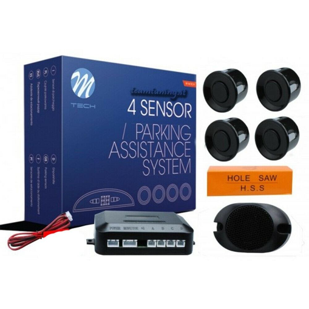 SENSORI PARCHEGGIO KIT 4 PARKING ASSISTANCE SYSTEM M-Tech  PER AUTO nero