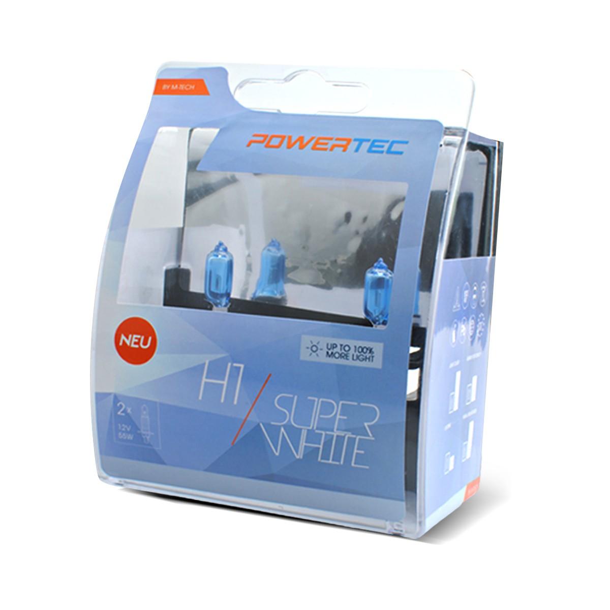 COPPIA LAMPADE POWERTEC SUPER WHITE H1 12V 55W  - PTZSW1/DUO -