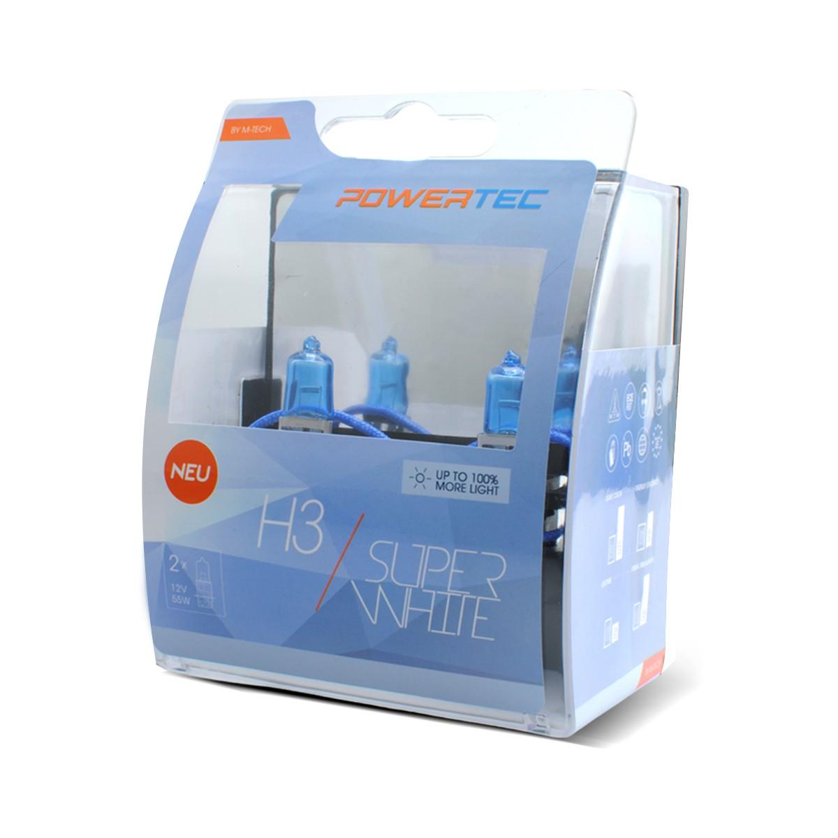 COPPIA LAMPADE POWERTEC SUPER WHITE H3 12V 55W - PTZSW3/DUO -
