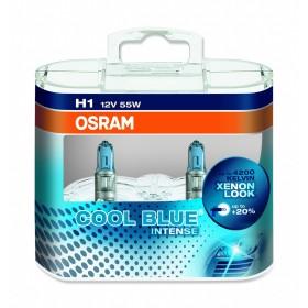 LAMPADA ALOGENA COOL BLUE INTENSE, H1 12 V, 55 W, LUCE BLU, LAMPADA DA 250H E BASE P14.5S, 4000K, 1550 LUMEN